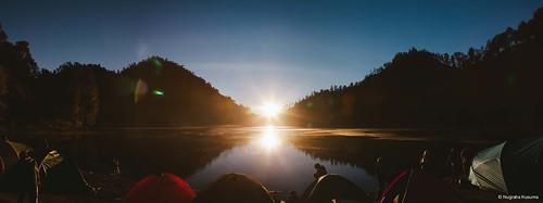 panorama lake nature sunrise indonesia semeru