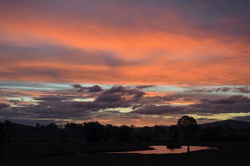 sunset sky reflection night countryside pond sundown cloudy dusk waterhole beaudesert sequeensland