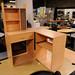 Beech tiered corner PC desk