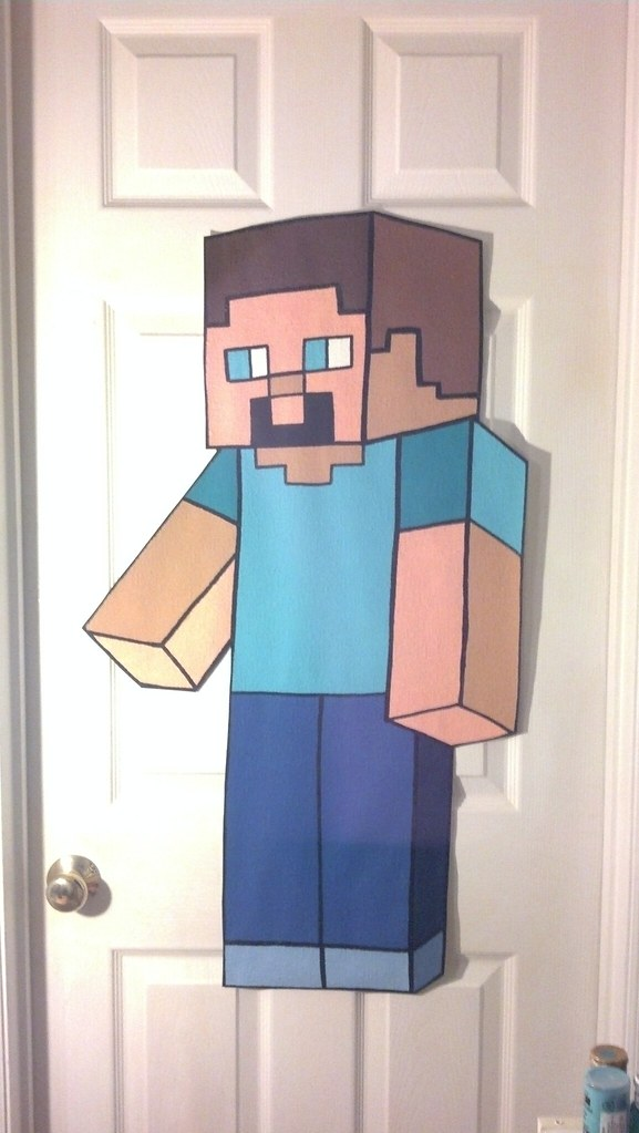 EXTRA LARGE STEVE Minecraft wallpaper mural hand painted b… | Flickr