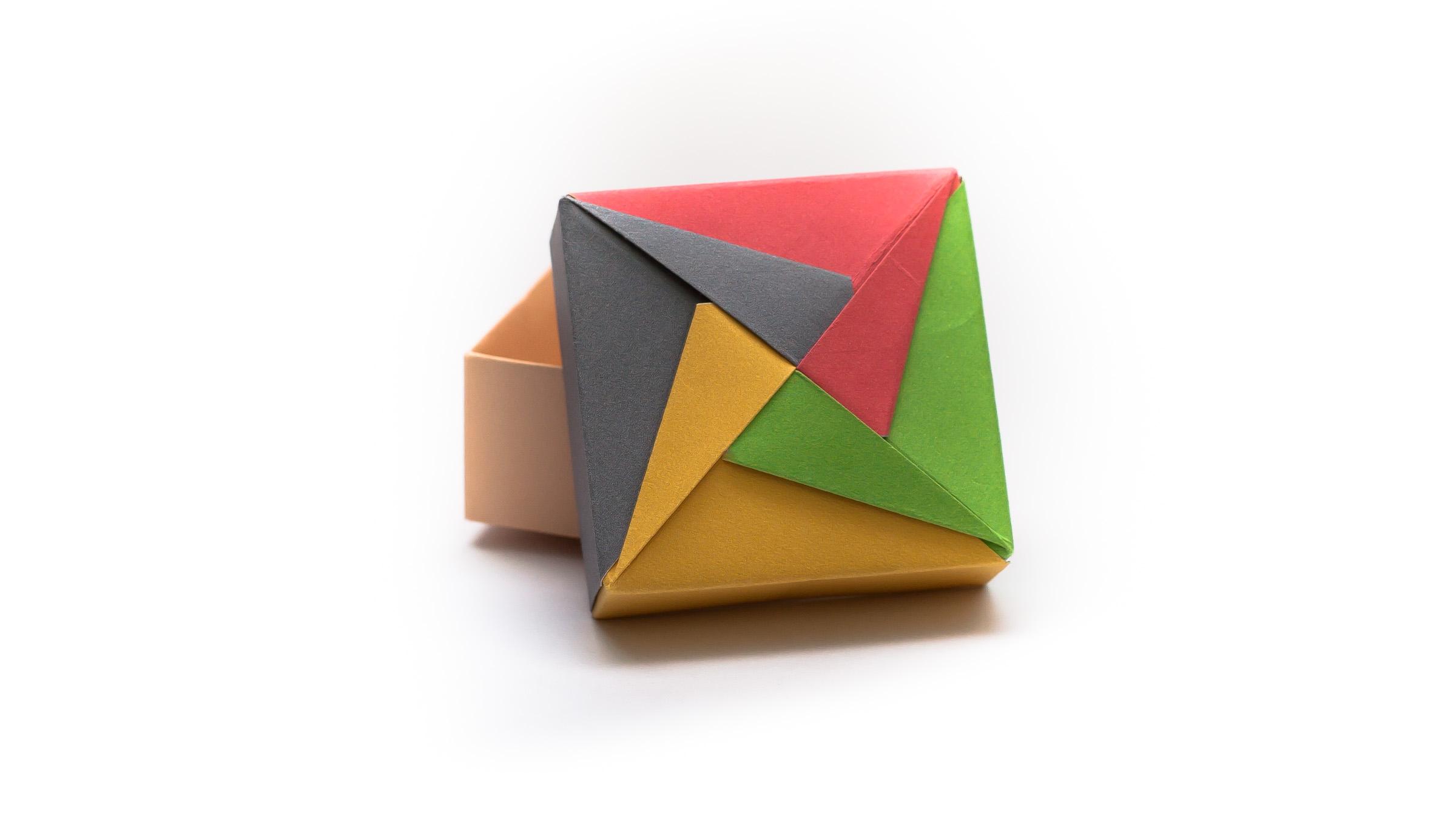 วิธีพับกล่องของขวัญแบบโมดูล่า (Modular Origami Decorative Box) โดย Tomoko Fuse -f04