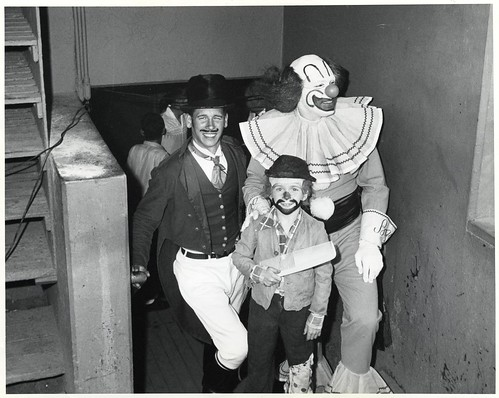 Bozo the Clown and two unidentified circus performers at Fenway Park during Mayor's Charity Fund Night | by Boston City Archives