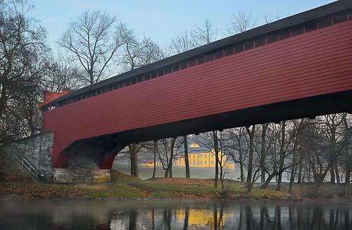 sunrise pennsylvania coveredbridge berkscounty tulpehockencreek gruberwagonworks