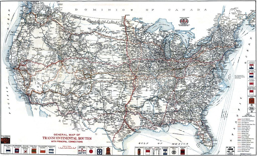 AAA United States Road Map 1918 | Road map from 1918 by the ...