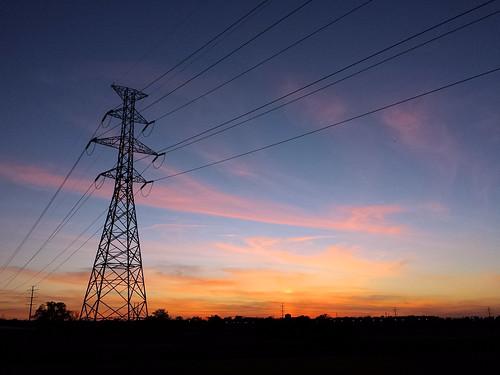 blue sunset sky orange clouds grid venus powerlines electricity fiery hightensionpowerlines santafetrestletrail powertransportation