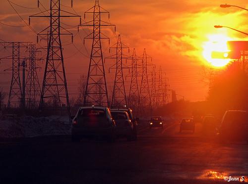 sun sunset canon electricity cars color landscape city urban sky winter