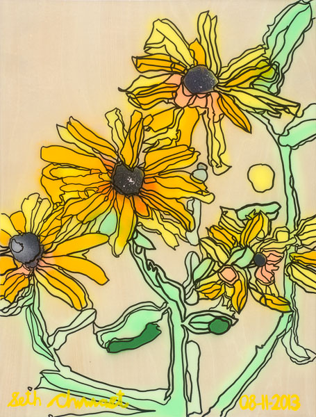 Four Black-Eyed Susans (24 x 18 spraypaint on woodpanel w/ polymer)