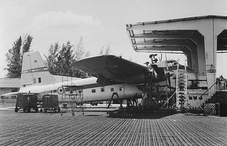 1966 RNZAF Bristol Freighter NZ5906 All patched up in the maintenance 'nose hangar' at RAF Changi