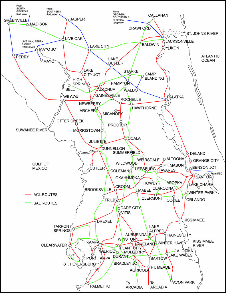 ACL and SAL combined Central Florida systems map in 1948 ...