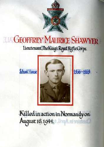 Shawyer, Geoffrey Maurice (1922-1944) | by sherborneschoolarchives