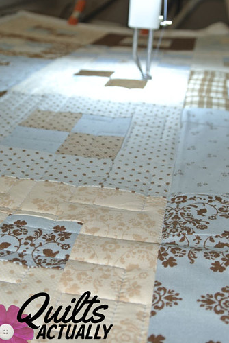 Blue and Brown on longarm 2 | by Quilts Actually