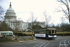 Streetcars at the Peace Monument on the final day of service, 1/27/62