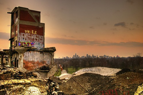 sunset plant skyline ruins grafitti michigan detroit graffitti spraypaint hdr packard packardplant runis