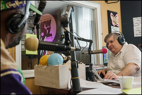 Michael Dominici on air and Action Jackson's Crown Royal hat.. Photo by Ryan Hodgson-Rigsbee www.rhrphoto.com
