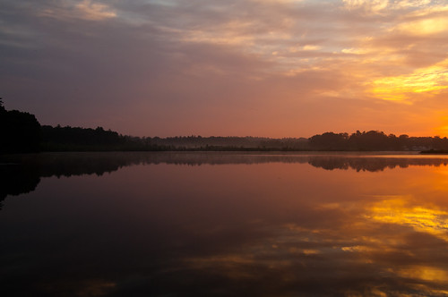 summer sky water clouds sunrise reflections pond day cloudy massachusetts northreading martinspond
