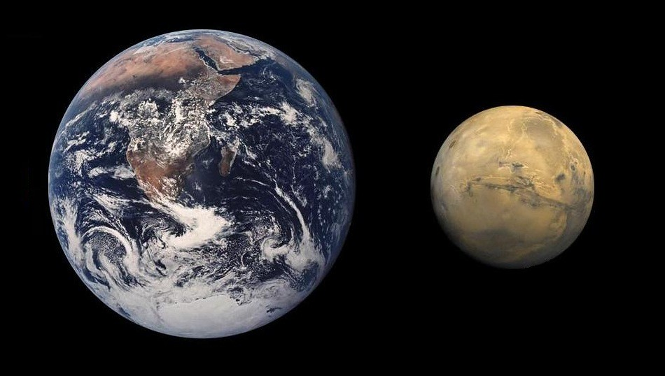 Earth/Mars Size Comparison
