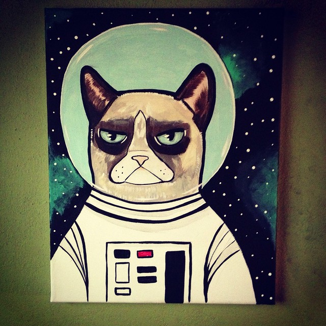 Grumpy Cat art acrylic painting project spaceman Cats in space