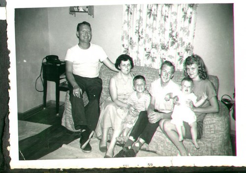 """William Delvie Copeland (""""Bill""""), left, his wife Marjorie, son William Dale Copeland, two unnamed teenagers (anyone know who they are?), and son Brian Copeland, late 1950s. 