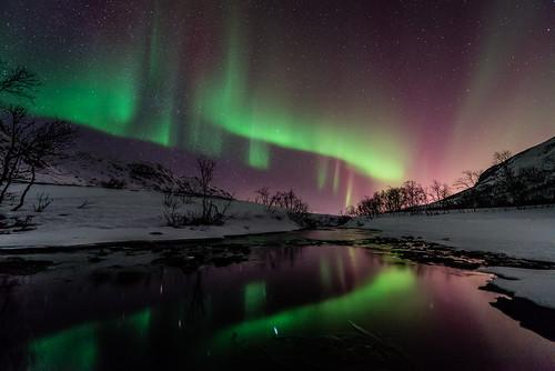 vann northernlights auroraborealis fjell elv nattbilder nordlys kattfjordeidet