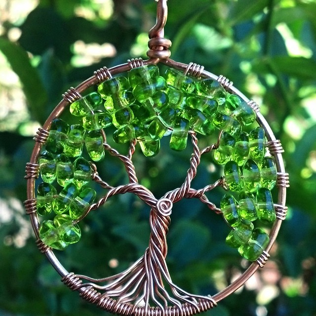 Copper and Glass Tree of Life Pendant
