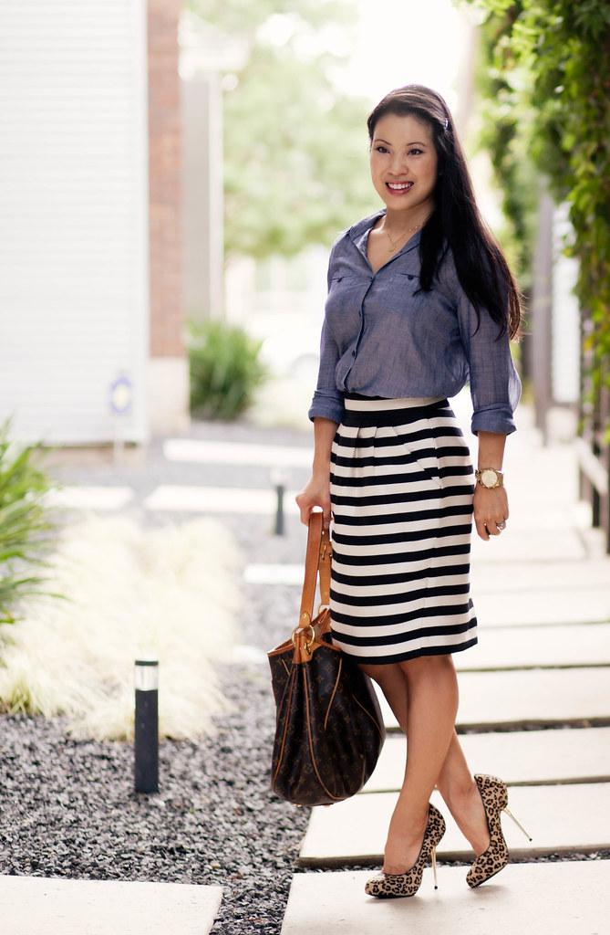 2f4ed8db9b49 ... chambray denim shirt, black white striped skirt, leopard print pumps,  louis vuitton galliera
