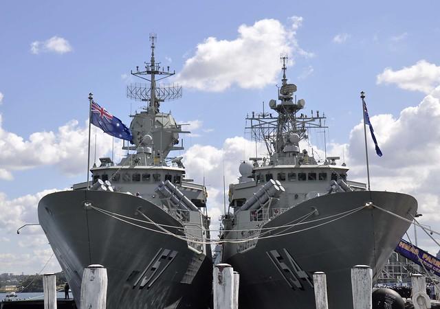 HMAS Perth and HMAS Parramatta - moored in Darling Harbour during the International Fleet Review