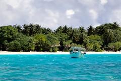 Boat anchored at Madhiriguraidhoo, Lhaviyani Atoll, Maldives