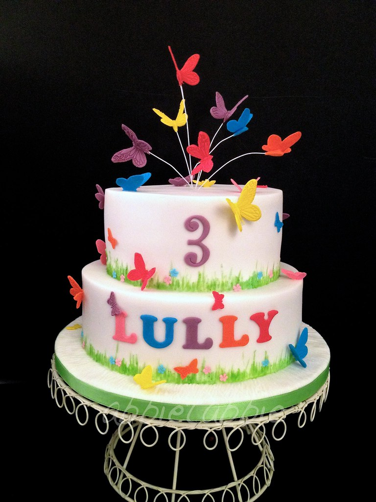 Super Butterfly Birthday Cake Made For The Granddaughter Of Flickr Personalised Birthday Cards Petedlily Jamesorg