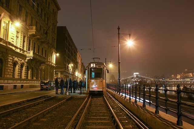 Budapet at night - the tram No. 2 at the temporary endstation in Pest