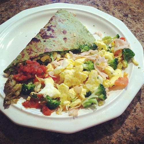 Lunch! Spinach tortilla filled with eggs, turkey, broccoli, tomatoes and feta. Guac and salsa on the side! #noschool #lunch #quesadilla #yummy | by minougirl