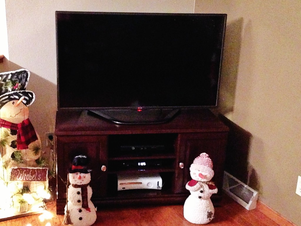 New TV stand and Christmas decorations