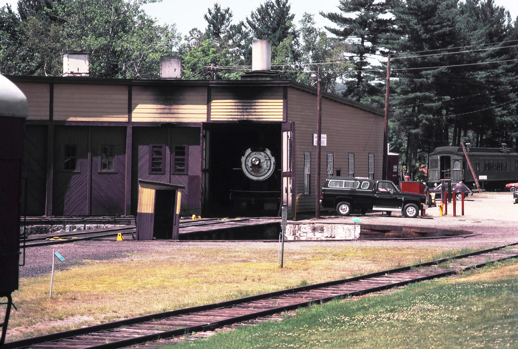 Conway Scenic Railroad roundhouse and turntable pit seen a