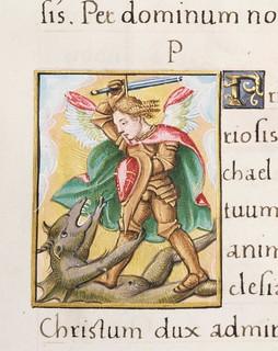 Livre d'heures en latin - Saint Michel combattant le dragon | by Bibliothèque - Les Champs Libres - Rennes
