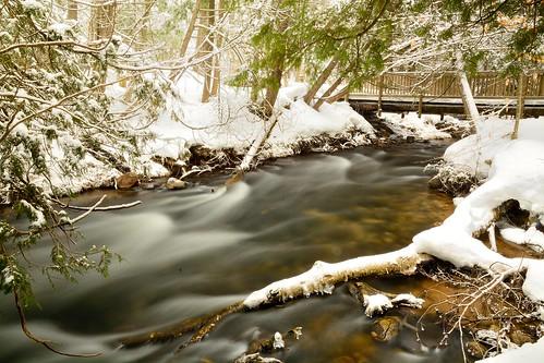 winter mi stream fast timeexposure flowing conifers fernridge sevenbridges ndf march2014