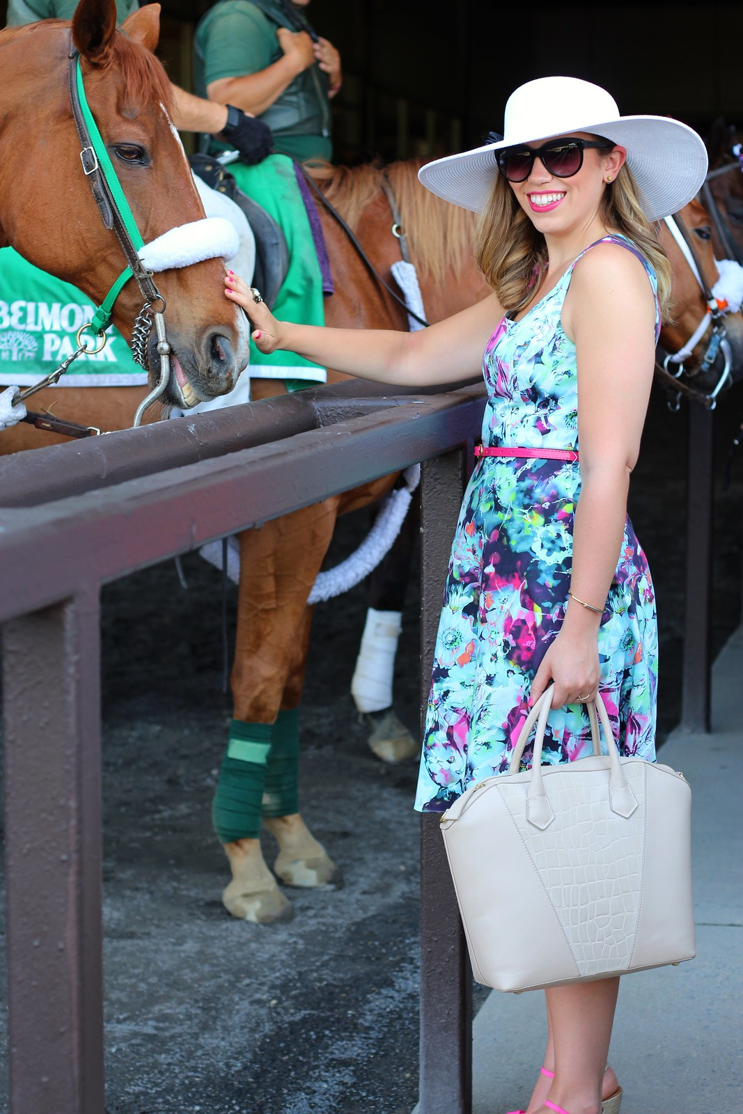 Floral Dress & Derby Hat at Belmont Racetrack | A Look Back at 10 Years of Blogging Living After Midnite Blogger Jackie Giardina
