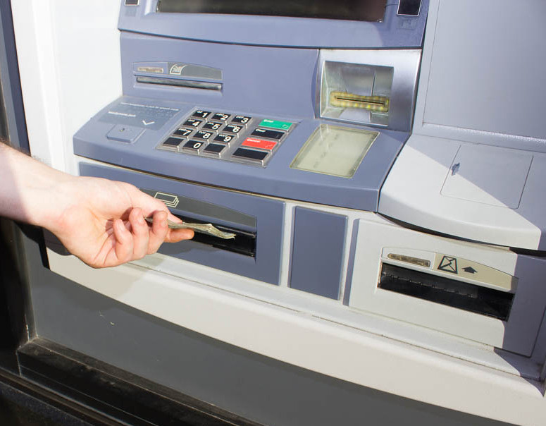 Pulling out money from ATM