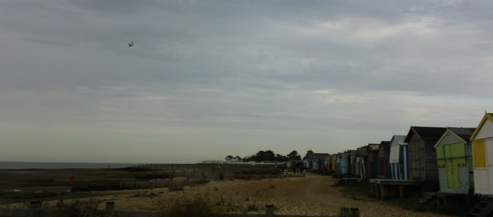 Kite above Whitstable beach huts ...not the bird but the stringed type