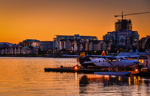 ca sunset sea orange sun canada water yellow plane airplane evening bay harbor dock bc with harbour britishcolumbia columbia victoria canadian british seaplane mygearandme blinkagain
