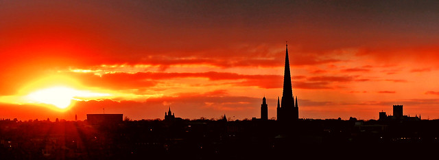 Norwich skyline at sunset