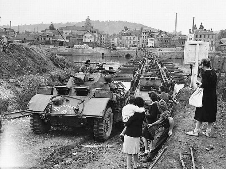 Staghound armored car crossing Rhine