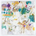 Michikusa Pikunik'ku (revised 2) (2013) oil on canvas, gold leaf, aluminium leaf, ink, charcoal, pastel, pencil 460x460x45mm