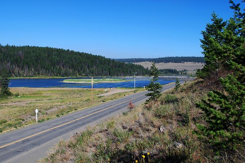 Highway 20 alongside Bechers Pond, Riske Creek, Chilcotin, British Columbia