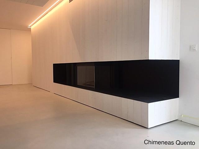 Chimenea Quento modelo Matal con hogar Kal Fire Heat Pure Corner.