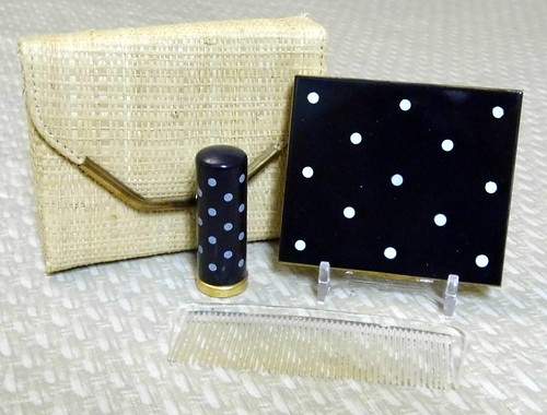Vintage Britemode Powder Compact Set, Polka Dot Design, Includes Case, Lipstick Holder, Comb and Compact | by France1978