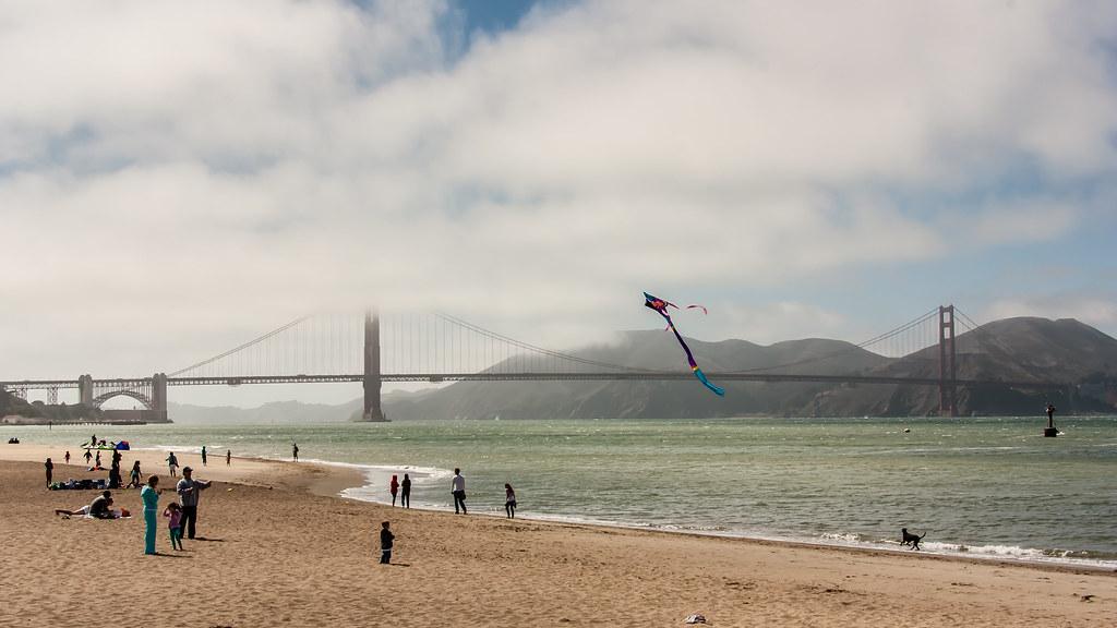 Beach day by the Golden Gate Bridge