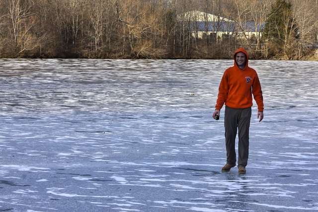 Unknown person, Cane Creek Lake frozen, Cookeville, Tennessee