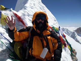 Me on the true summit of Manaslu (8163m), the 8th highest mountain in the world | by markhorrell