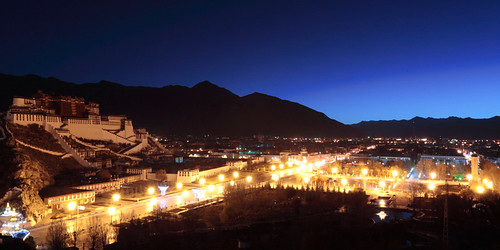china sunrise landscape religion tibet nightview lhasa potalapalace