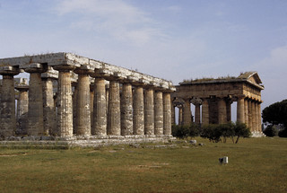 Paestum:  site view showing Temple of Hera I [left foreground] and Temple of Poseidon (Temple of Hera II) [right background]