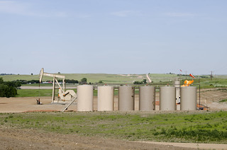 Orvis State oil well and gas tanks and natural gas flare - Evanson Place - Arnegard North Dakota - 2013-07-04 | by Tim Evanson
